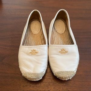 Coach Rhodelle Espadrille Leather Loafers Ivory 8